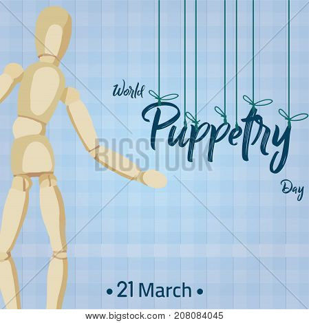 World Puppetry Day, 21 March. Wooden puppet conceptual illustration vector.