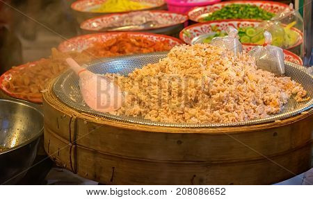Freshly Cooked Batch of Thai Traditional Styled Steaming Shrimp Paste Rice