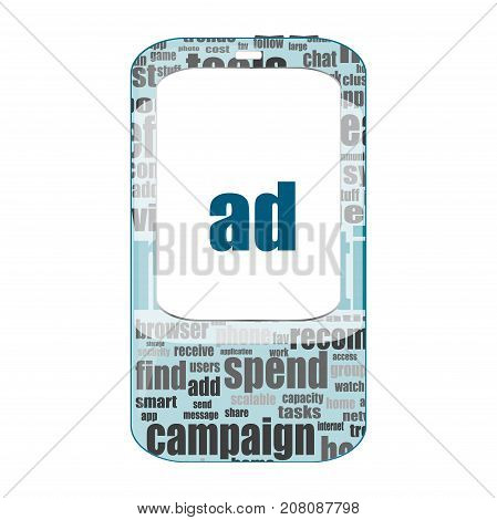 Text Ad. Management Concept . Detailed Modern Smartphone Isolated On White