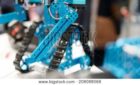 Electronic Robots Close-up Shallow Focus. Working In Robotics Laboratory. Children Building Robots A