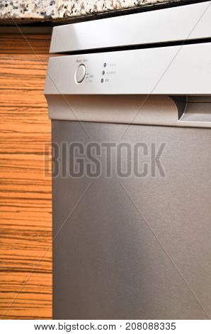Grey body with a stainless steel Dishwasher