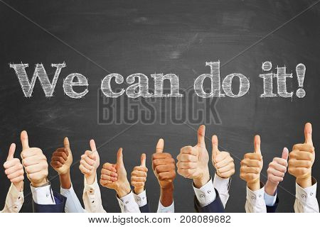 We can do it text on blackboard and many thumbs up as motivation or teamwork