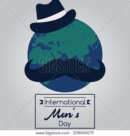 International Men's Day, 19 November. Earth globe with a hat and moustache conceptual illustration vector.