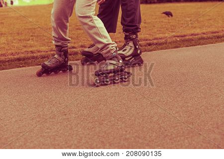 Woman And Man, Rollerblading Exercises, No Face