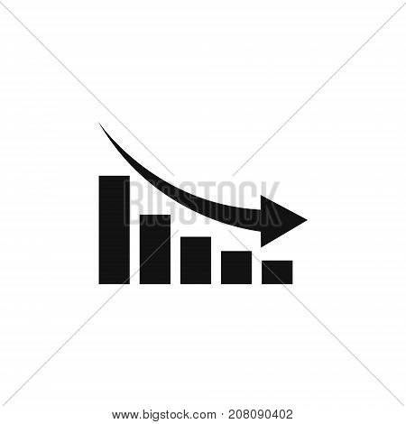 Graph chart down icon. Down arrow symbol. Flat Vector illustration.