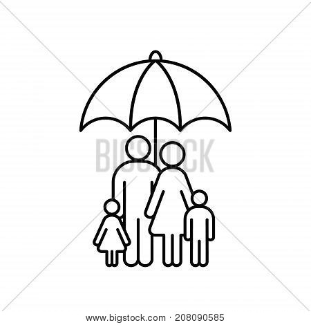 Family under umbrella line icon. Safety insurance protection concept outline illustration.