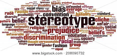 Stereotype word cloud concept. Vector illustration on white