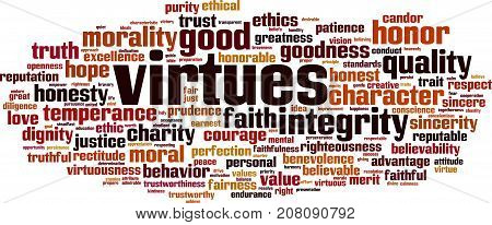 Virtues word cloud concept. Vector illustration on white