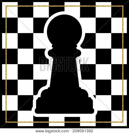 Chessboard with a chess piece Pawn and a gold frame. Traditional Christmas holiday game.