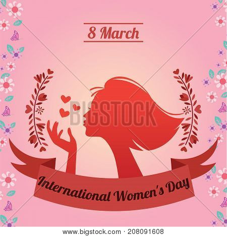 International Women's Day, 8 March. Happy woman silhouette conceptual illustration vector.