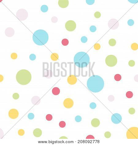 Colorful Polka Dots Seamless Pattern On White 4 Background. Pleasant Classic Colorful Polka Dots Tex