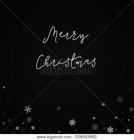 Merry Christmas Greeting Card. Sparse Snowfall Background. Sparse Snowfall On Black Background. Wond