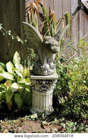 Garden gargoyle sitting on a white pedestal in a garden on a sunny day.