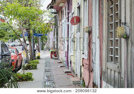 VERACRUZ, MEXICO- SEPTEMBER 27, 2017: View of a street at Barrio de la Huaca in Veracruz, Mexico. Famous neighborhood that was founded by african slaves about three centuries ago