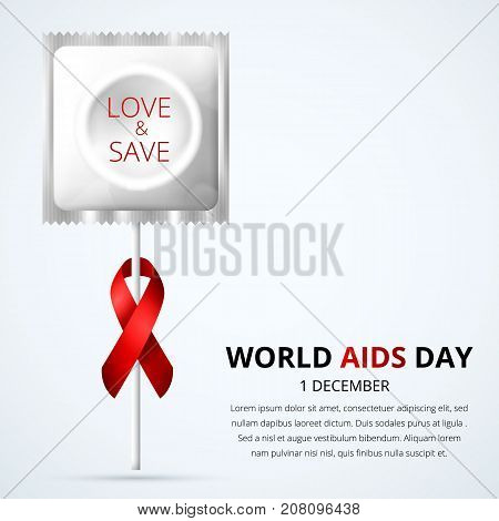 White condom with red ribbon in form of flower, Love Save message.HIV Aids prevention, safe sex - contraception conception.