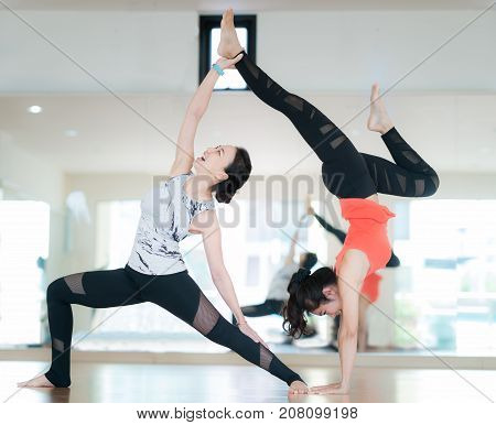 Diffical level of yoga dance Yoga training in fitness center exercise fitness sport and healthy concept