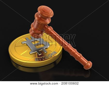 3d illustration. 3d wooden mallet and Bitcoin. Image with clipping path