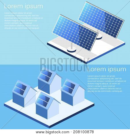 Isometric Flat 3D Vector Outside Solar Panels On House