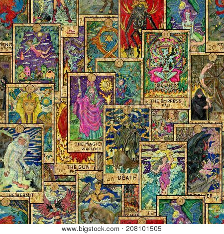 Seamless background with Tarot cards. Esoteric and occult illustrations, wicca and pagan concept