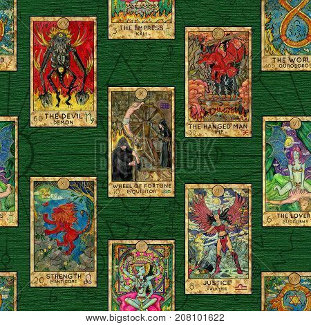 Seamless background with layout of colorful Tarot cards. Esoteric and occult illustrations, wicca and pagan concept