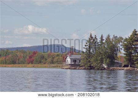 Empty home built near the river's shoreline