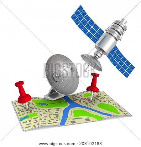 navigation system on white background. Isolated 3d illustration