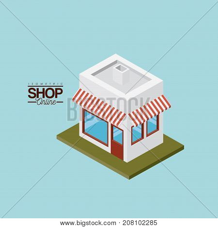 store with sunshade striped red and white over green floor colorful poster isometric shop online vector illustration