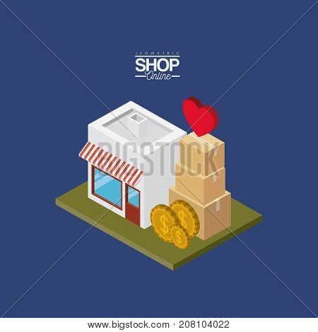 store with striped sunshade red and white with coins and cardboard boxes stack and heart on top over green floor colorful poster isometric shop online vector illustration