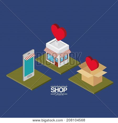 smartphone and store with striped sunshade red and white and cardboard box stack with hearts on top over green squares colorful poster isometric shop online vector illustration