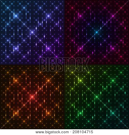 Set of bright shining and glaring abstract patterns with circles. Beautiful decorative rounds on dark cosmic background. Vector EPS10 file.