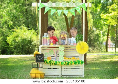 Adorable children selling homemade lemonade at stand in park