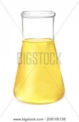 Glassware with cooking oil on white background
