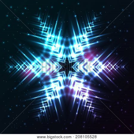 Bright shining and glaring abstract snowflake. Beautiful decorative cosmic star on dark background. Vector EPS10 file.