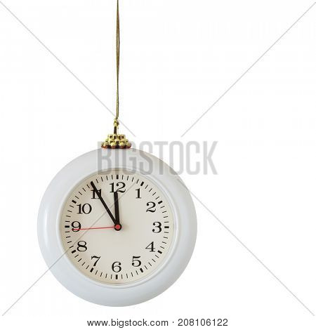 Christmas ball - clock isolated on the white background