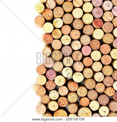 Wine corks isolated on the white background. Copyspace composition