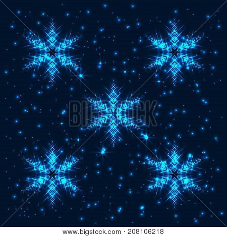 Bright shining and glaring abstract background with 5 snowflakes. Beautiful decorative cosmic stars on dark background. Vector EPS10 file.