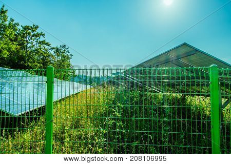 Large solar panel array located in a woodland park in South Korea.