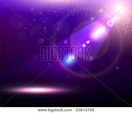 Violet Vector Stage Spotlight with Laser rays for design