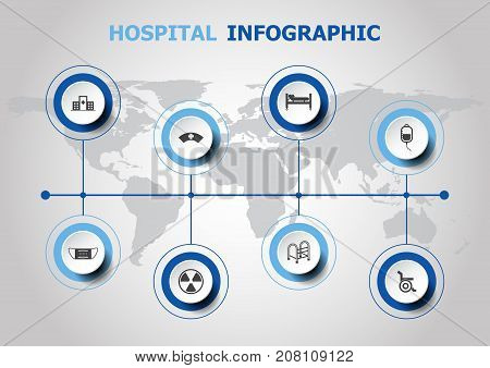 Infographic design with hospital icons, stock vector