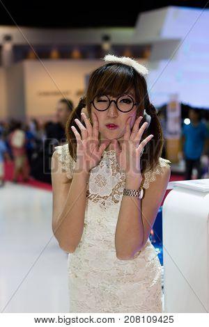Bangkok Thailand - March 29 2013: Unidentified female presenter of Volkswagen in Bangkok Motor Show 2013