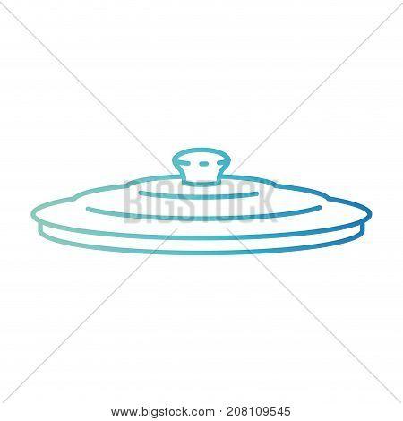 pan lid degraded blue color contour vector illustration