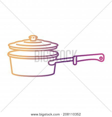 pan with handle and lid silhouette gradient color from magenta to purple vector illustration