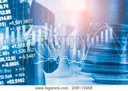 Business Man On Stock Market Financial Trade Indicator Background. Man Analysis Stock Market Financi