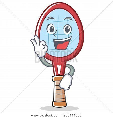 Okay tennis racket character cartoon vector illustration
