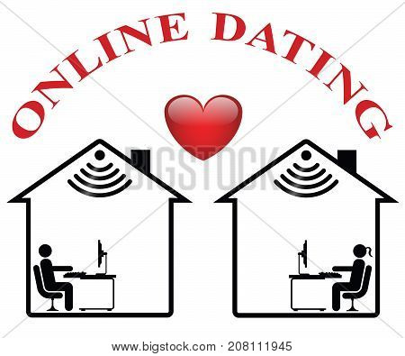 Representation of online dating isolated on white background