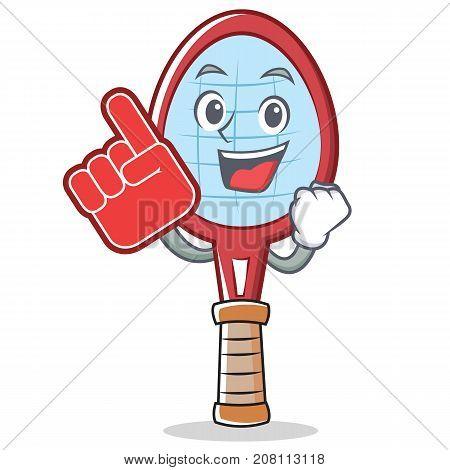 Foam finger tennis racket character cartoon vector illustration