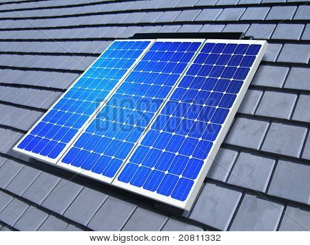 solar-cell array on the roof of private home