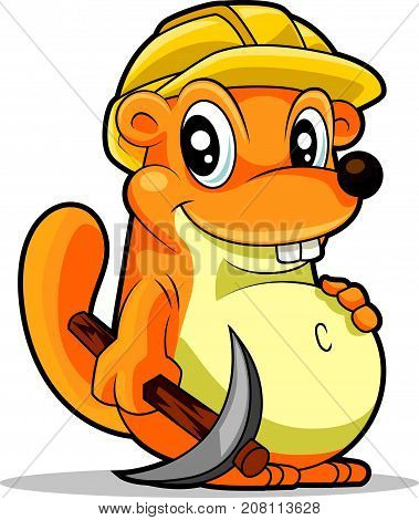 Cartoon cute groundhog mascot wearing a safety hat, holding a tool, vector illustration