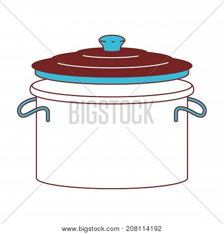 cooking pot with lid color sections silhouette vector illustration