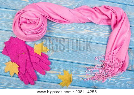 Frame Of Gloves And Shawl, Clothing For Autumn Or Winter, Copy Space For Text